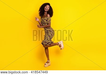 Full Length Body Size View Of Pretty Slender Cheerful Girl Dancing Having Fun Relax Isolated Over Br