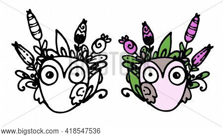 Colorful Doodle Owl With Flowers In Beautiful Style On White Background. Floral Pattern. Black Color