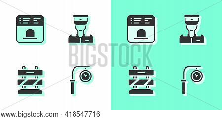 Set Train Station Clock, Ticket Office To Buy Tickets, End Railway Tracks And Conductor Icon. Vector