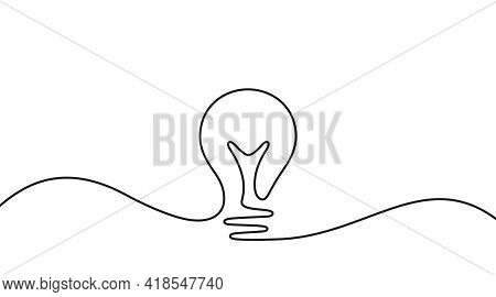 Continuous Line Idea Icon. One Light Bulb Silhouette. Electric Lightbulb Icon On White Background. I