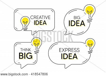 Continuous Line Idea Speech Bubble Icon. Chat Message With Light Bulb Silhouette. Big And Creative I