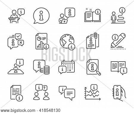 Info Center Line Icons. Reception Information, Journey Path, Guide Book. Call Center, Faq Chat Bubbl