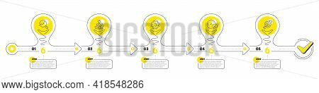Timeline With Lamp Light Bulbs And Icons. 5 Steps Idea Journey Path Chart Of Business Project Proces