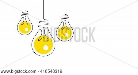 Idea Light Bulbs Icons. Lamp Silhouette Isolated On White Background. Continuous Line Lightbulbs Wit