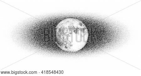 Dotwork Moon Night Pattern Vector Background. Sand Grain Effect. Black Noise Stipple Dots Satellite.