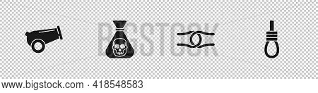 Set Cannon, Pirate Coin, Rope Tied Knot And Gallows Rope Loop Hanging Icon. Vector