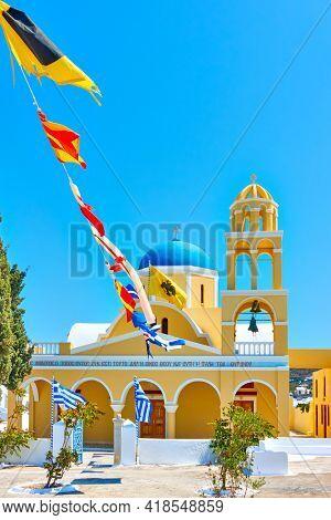 Oia, Santorini, Greece - April 24, 2018: St George Church (Ekklisia Agios Georgios) in Oia in Santorini island. Greek orthodox architecture