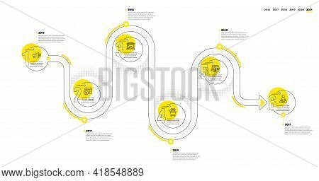 Infographic Timeline With Icons And 6 Steps. Buying Process With Numbers. Infographics Business Conc
