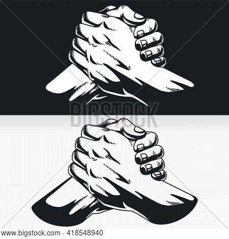 Silhouette Urban Soul Handshake Thumb Clasp Homie Stencil Drawing