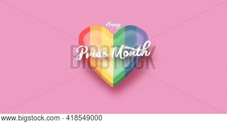 Happy Pride Month Horizontal Banner With Heart And Pride Color Flag Isolated On Pink Background. Pri