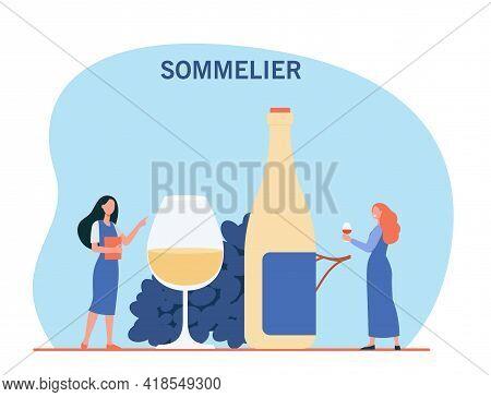 Happy Tiny Women Tasting White Wine. Sommelier, Bottle, Glass Flat Vector Illustration. Beverages An