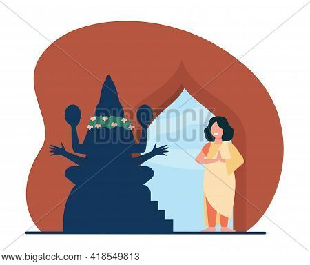 Happy Indian Woman Praying In Temple. God, Prayer, Belief Flat Vector Illustration. Religion And Tra