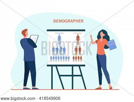 Two Demographers Presenting Population Statistics. Clipboard, Analyst, Comparison Flat Vector Illust