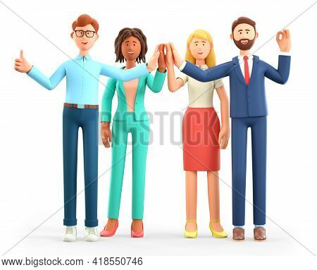 3d Illustration Of Business Team Informal Greeting. Happy Working People Giving High Five And Gestur