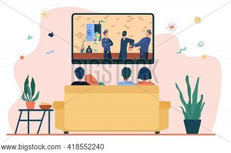Happy Couples Watching Criminal Drama In Living Room. Sofa, Evening, Tv Flat Vector Illustration. Li