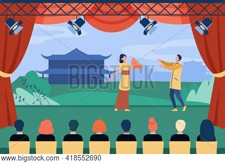 Chinese Actors Performing Theatrical Piece On Stage. Costume, Theater, Audience Flat Vector Illustra