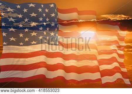 American Flag For Memorial Day, 4th Of July, Independence Day, Celebration Concept.