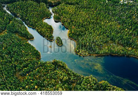 Aerial View Of Wild Green Forests And Blue Lakes And Rivers In Summer Finland
