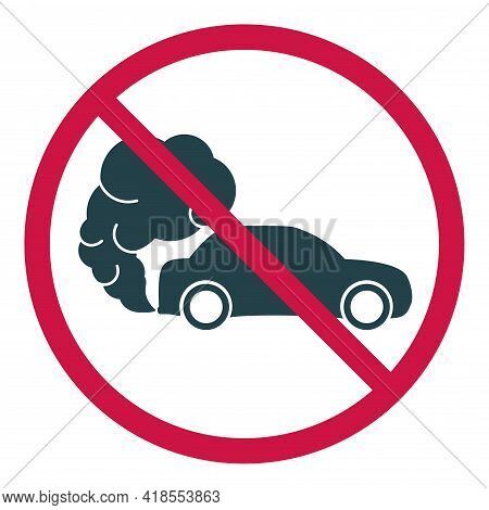 Prohibiting Hazardous Exhaust Gas Sign. Car Icon With Exhaust Gases. Exhaust Fumes. Environmental Po