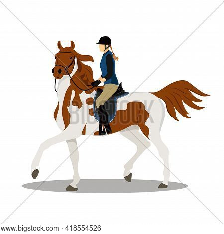Woman On Horse. Horse With Rider. Jockey On Horse. Horse Riding. Equestrian Sport. Isolated Vector I
