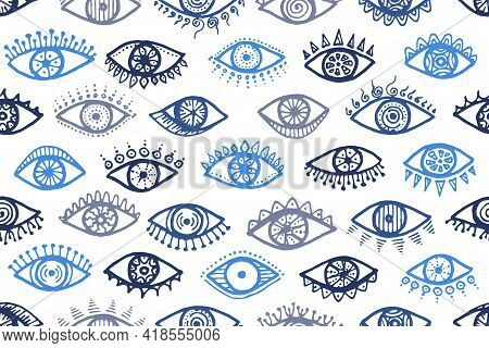 Hand Drawn Open Eyes Naive Endless Ornament. Sketch Drawing Style Illustration. Cosmetics Wrapping P