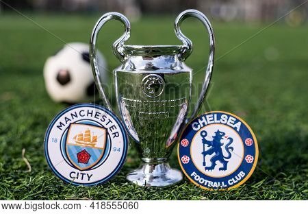 April 16, 2021 Moscow, Russia. The Uefa Champions League Cup And The Emblems Of The Manchester City
