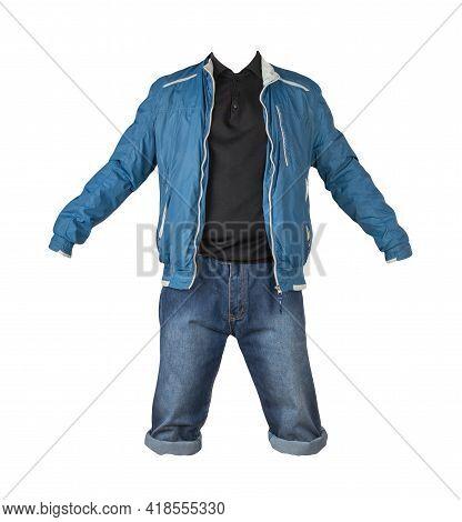 Denim Blue Shorts,black Sweater And Blue White Windbreaker Jacket On The Zipper Isolated On White Ba