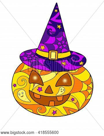 Halloween Pumpkin In A Witch's Hat - Vector Linear Color Illustration For Halloween Jack's Lantern -