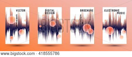 Music Banners Set With Sound Wave Background. Abstract Seismic Amplitude Concept. Distorted Sound Wa