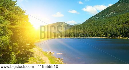 Engolasters Lake In The Pyrenees, Andorra. The Concept -travel Destinations. Wide Photo.
