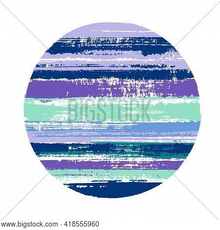Vintage Circle Vector Geometric Shape With Stripes Texture Of Paint Horizontal Lines. Planet Concept