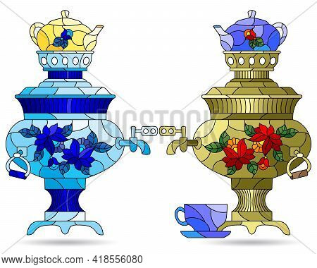 Set Of Illustrations In The Style Of Stained Glass With Bright Russian Samovars And Teapots, Dishes