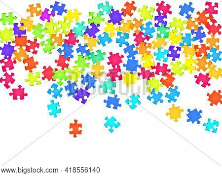 Abstract Crux Jigsaw Puzzle Rainbow Colors Pieces Vector Background. Top View Of Puzzle Pieces Isola