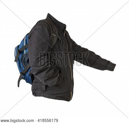 Blue Denim Backpack Dressed In Black Jacket Isolated On A White Background. Rear View Of A Backpack