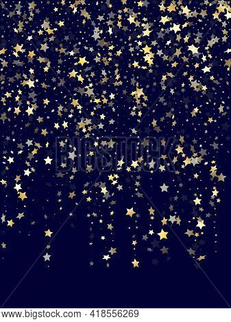 Gold Gradient Star Dust Sparkle Vector Background. Beautiful Gold Star Sparkles Dust Elements On Dar