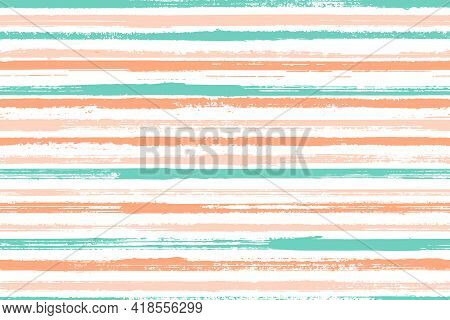 Watercolor Freehand Rough Stripes Vector Seamless Pattern. Abstract Kids Clothes Fabric Design. Vint