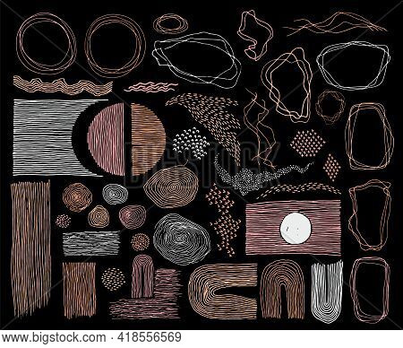Doodle Frames, Lines And Dots Texture Backgrounds Vector Collection. Pen Drawn Fingerprint Abstract
