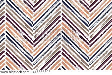 Dry Chevron Fashion Print Vector Seamless Pattern. Paint Brush Stroke Geometric Stripes. Hand Drawn