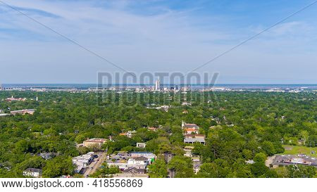 The Downtown City Skyline From Above Midtown Mobile, Alabama In April Of 2021