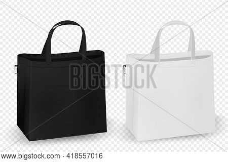 Shopping Rpet Bag Design. Black And White Tote Shopping Bags Identity Mock-up Item Template Transpar