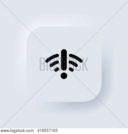 Bad Network, Wifi Problem Icon. Connection Problem Sign, Server Signal Lost. Neumorphic Ui Ux White