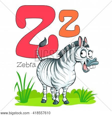 Vector Illustration. Alphabet With Animals. Large Capital Letter Z With A Picture Of A Bright, Cute