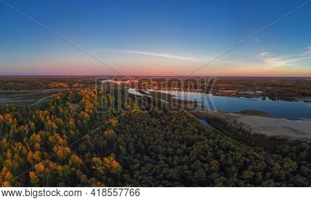 BARNAUL CITY. RUSSIA - SEPTEMBER 13, 2020: Aerial shot of view to Barnaul city. Siberia, Russia. Autumn beauty sunset on September 13, 2020 in Altayskiy krai, Siberia, Barnaul, Russia.