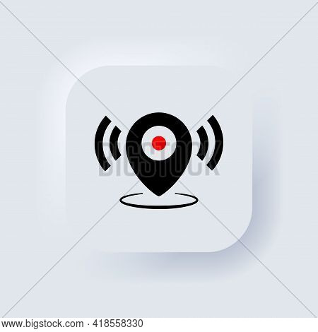 Map Pointer. Location Icon. Map Pointer Notification Icon. Looking For Signal. Neumorphic Ui Ux Whit