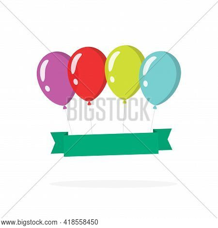Festive Surprise Balloons Banner Template For Copy Space Text Flat Cartoon Illustration Isolated On
