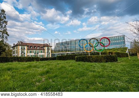 Lausanne, Vaud Canton, Switzerland - 04.18.2021: New Headquarters International Olympic Committee. L