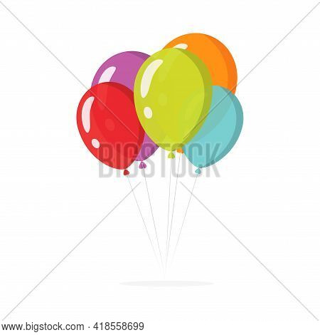 Balloons Bunch For Birthday Party Flying Colorful Flat Cartoon Illustration Isolated On White