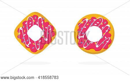 Donuts Or Doughnut Sweet Isolated Icons Set With Sprinkles Logo Flat Cartoon Illustration, Pink Colo