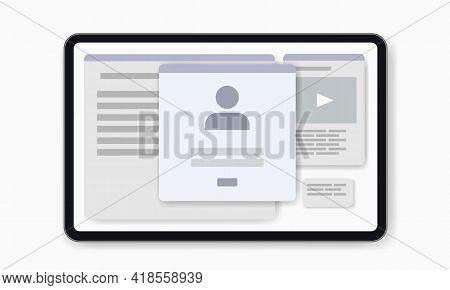 Mockup Wireframe Screen For Account Login. Sign In To Account. Flat Ui Interface For Web Design On W