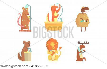 Cute Animals Grooming Bathing And Washing In The Bathroom Vector Set